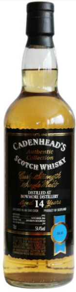 Bowmore 14yo 1992-2006 (54.4%, Cadenhead, Authentic Collection, Bourbon Hogshead, 294 bottles)