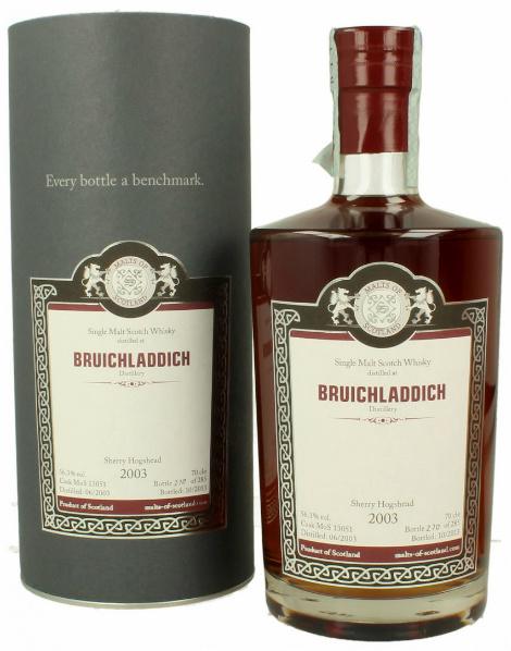 Bruichladdich 10yo 2003/2013 (56.3%, Malts of Scotland, Sherry Hogshead, MoS 13051, 285 bottles)
