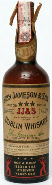 John Jameson & Son 7yo Three Star Pure Old Pot Still (43%, Bow St. Distillery, Dublin Whiskey, 75 cl, Circa 1965)