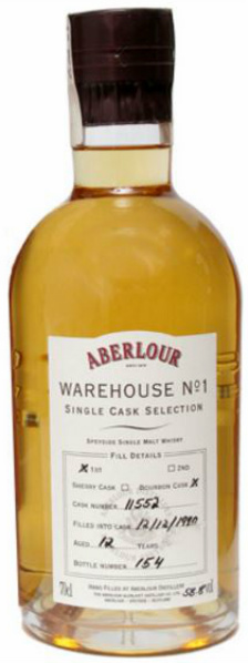 Aberlour 12yo 1990/2003 Warehouse No 1 (58.8%, OB, Single Cask Selection, First Fill Bourbon Cask #11552)