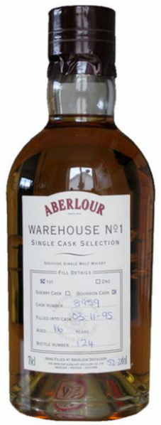 "Aberlour 16yo 1995/2012 ""Warehouse No 1"" (52.2%, OB, Single Cask Selection, First Fill Bourbon Cask #8959)"