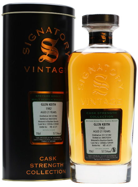 Glen Keith 21yo 1992/2014 (57.5%, Signatory Vintage, Cask Strength Collection, Bourbon Barrels #120566 & #120569, 271 bottles)
